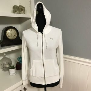 EUC - Puma - White Hoodie Sweatshirt